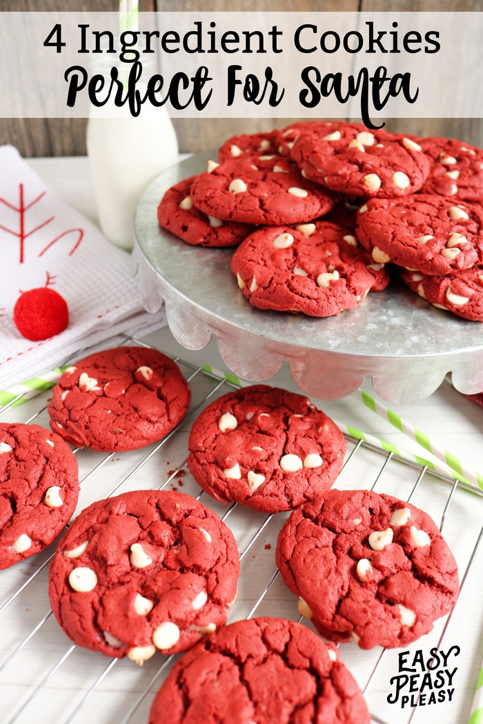 4 Ingredient Red Velvet Cake Mix Cookies
