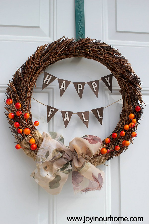 Burlap And Berry Fall Wreath