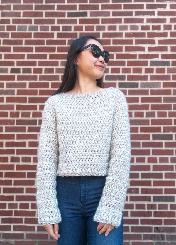 Crochet Brooklyn Crop Sweater Free Pattern