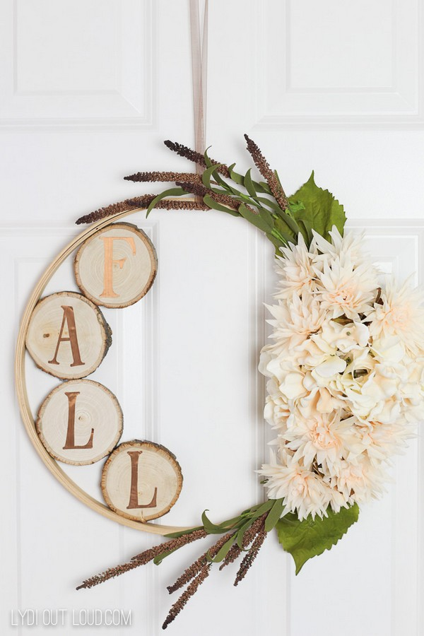Embroidery Hoop Wreath With Wood Slices