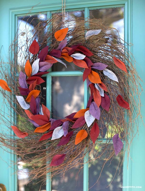 Felt Leaf Wreath For Fall