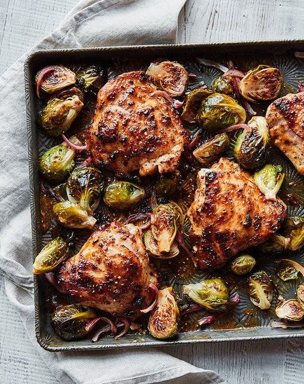 Honey Mustard Sheet Pan Chicken With Brussels Sprouts