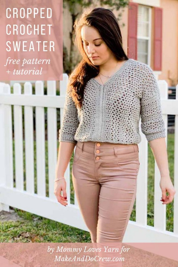 Lightweight Cropped Crochet Sweater