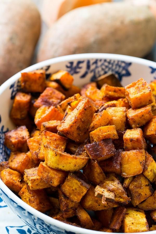 Spicy Sweet Roasted Sweet Potatoes