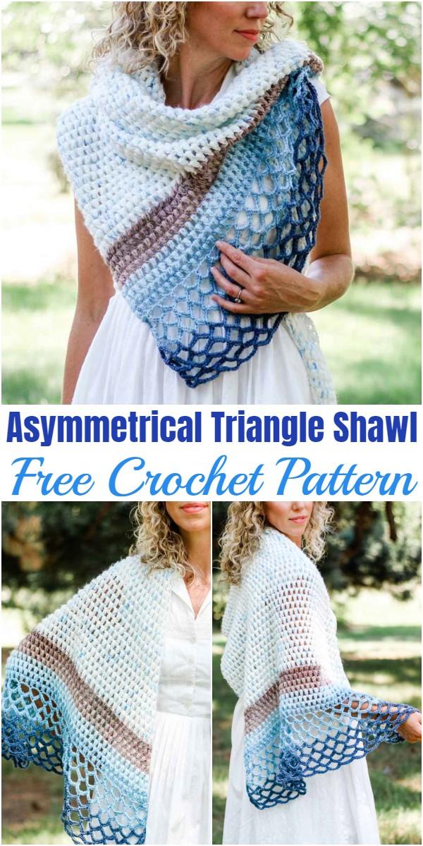 Crochet Asymmetrical Triangle Shawl