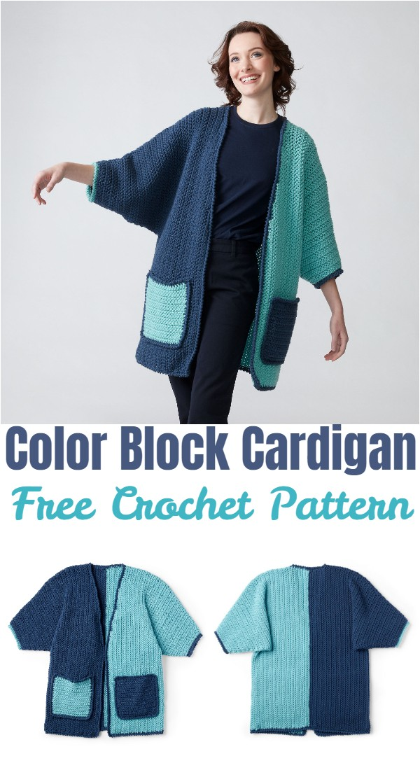Crochet Color Block Cardigan