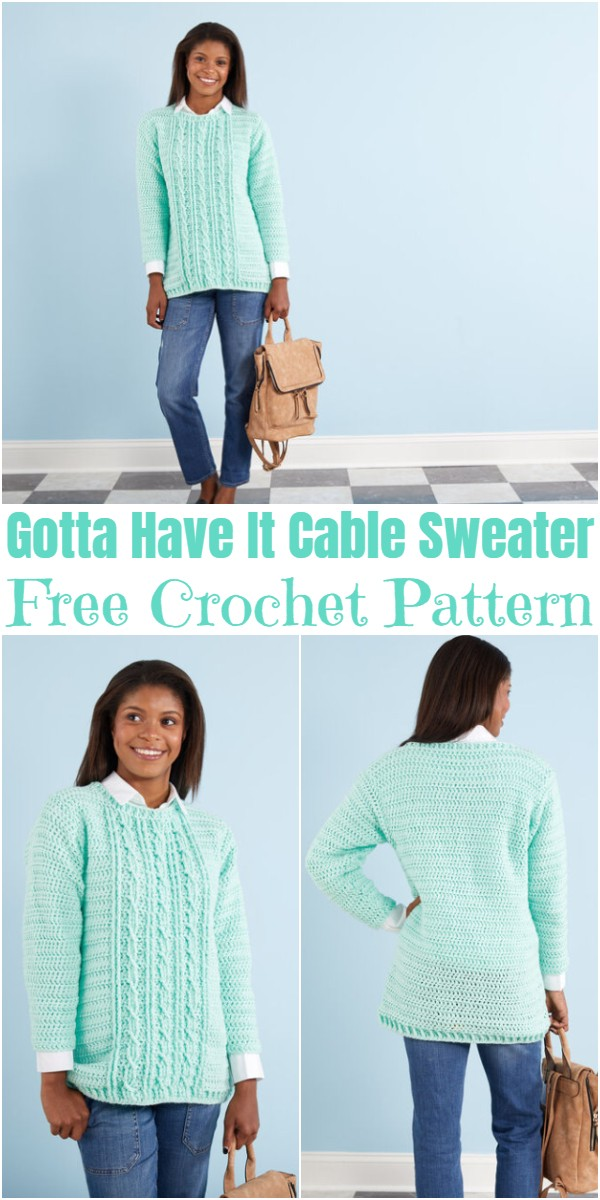 Crochet Gotta Have It Cable Sweater