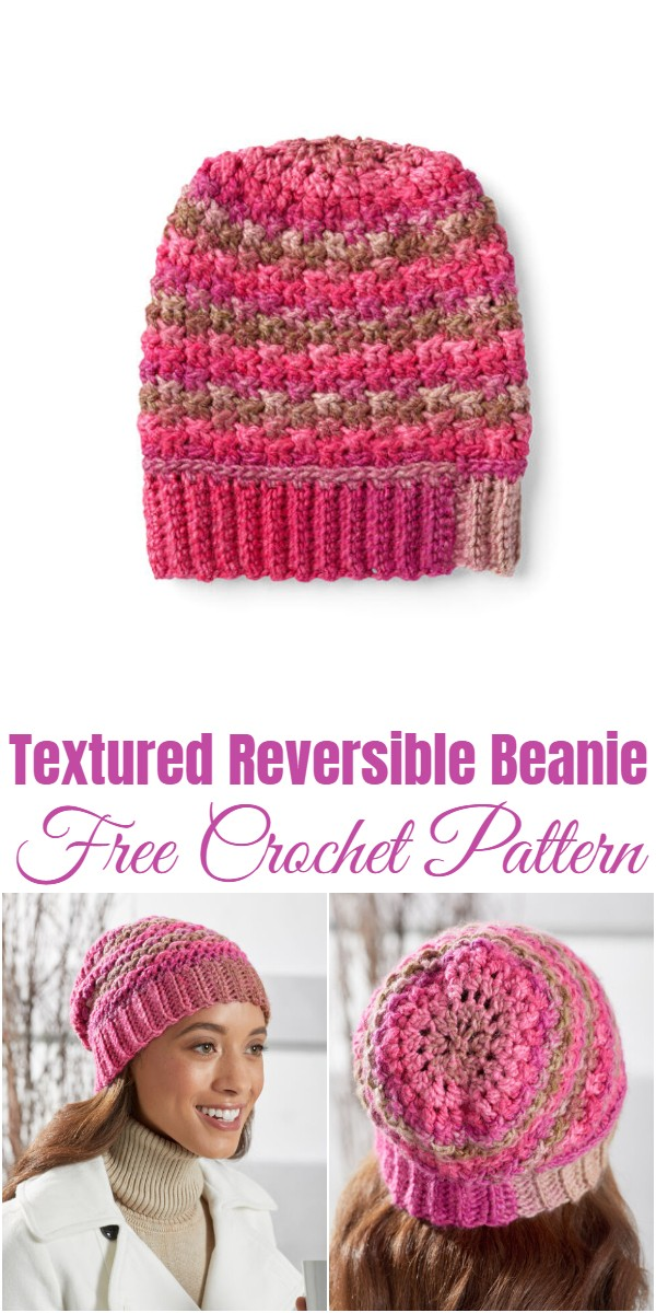 Crochet Textured Reversible Beanie